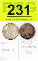Coin 2 Peace Silver Dollars 1923 & 23-D