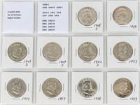 Coin 18 High Grade Franklin Half Dollars