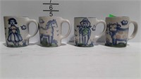 M.A. Hadley Pottery, set of four Whimsical coffee