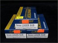3- Boxes Magtech 9mm Luger 147-grain FMC-flat