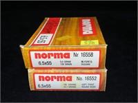 2- Boxes Norma 6.5x55mm 139-grain SP