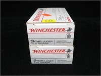 2- Boxes Winchester 9mm Luger 115-grain jacketed