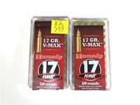 2- Cases Hornady .17 HMR V-Max cartridges