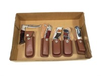 Lot, 5 pocket knives with sheaths