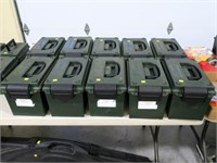 Lot, 10 plastic ammo cans by Case Guard,