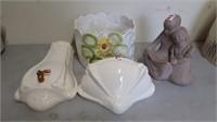 Decorative pot, statue, and wall decor