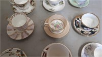 Lot Of 9 Tea Cups With Matching Saucers