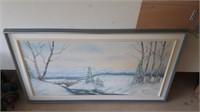 Esclapez Winter Scene Painting 54 In Long By 31