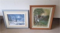 2 Esclapez Paintings,1 Spring Scene And 1 Winter