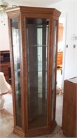 Corner curio cabinet, needs new front pain of