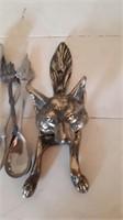 Wolf door knocker and collector spoons
