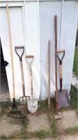 Lot Of Gardening Tools Including Shovel, Rake,