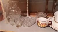 Lot Of Glass Bowls, Divided Dish, Vases, Mugs,