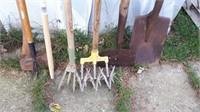 Lot Of Gardening Tools, Shovel, Axe, Etc