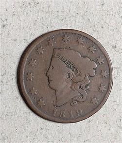 US. MINT 1819 CORONET LARGE CENT Zum Verkaufen - 1 ...