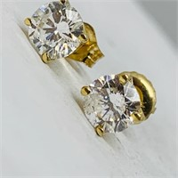 14KT YELLOW GOLD 1.00CTS DIAMOND STUD EARRINGS