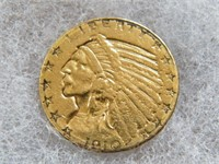 GOLD: 191O $5 GOLD INDIAN