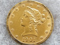 GOLD: 1901 $1O  GOLD LIBERTY (POSSIBLY HAD BEEN