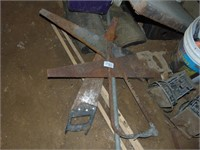 (4) Hand Saws, Nails, Folding Table, +