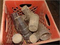 Milk Crate w/ Plastic Glasses