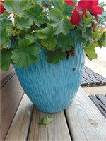 (2) Turquoise Flower Planters