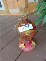Glass Hummingbird Feeder + Basket