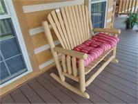 Log Timber Love Seat Rocker
