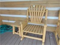 Log Timber Wide Rocker + Side Table
