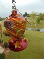Wind Chimes + Glass Hummingbird Feeder