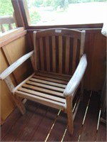 Wooden Slatted Chair w/ Small Side Table