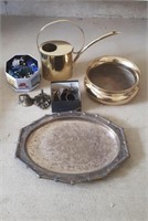 Heavy Brass Bowl, Plated Serving Tray, Watering