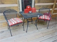 Outdoor Metal Table + (2) Chairs