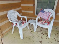 (2) Plastic Chairs + Table