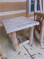 (2) Log Timber Rockers + Side Table
