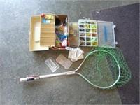 Tackle Box, Fishing Net, + Fishing Supplies