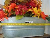 Galvanized Planter + Flowers