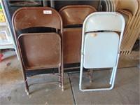 (5) Blue + (2) Brown Metal Folding Chairs