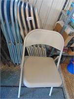 (6) Tan Folding Metal Chairs