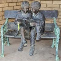Garden Art Bronze 2 Kids Reading on a Bench