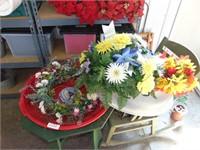 Wreath, Wreath Storage Container, + Flowers