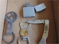 Zippo Lighter, Key Rings, + Pocket Knife