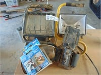 (2) Halogen Work Lights + Leather Tool Pouch