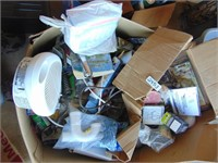 Large Box of Assorted Tools, Light Bulbs,