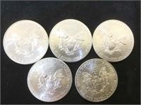 5- 2014 AMERICAN SILVER EAGLES, 5 x $