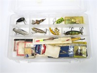 Plastic box plugs, spinners and flies
