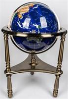 Tall Lapis Semi-Precious Gemstone Globe on Stand
