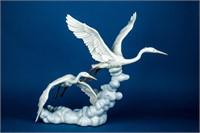Lladro Retired Cranes in Flight # 6433 Figurine