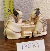158 - CARVED IVORY MINATURE; MEN PLAYING GAME