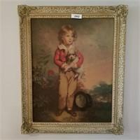 Print: Child with Dog in decorative frame