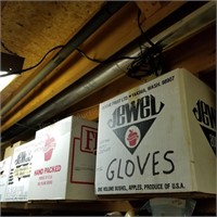 Gloves, Tobacco Cans (top shelf Left)